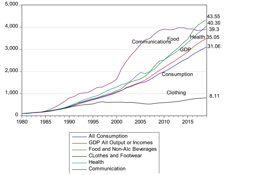 Consumption of goods and services graph