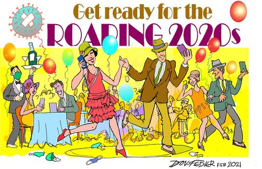 get ready for the roaring 2020s cartoon showing people partying